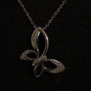Sterling silver diamond butterfly pendant